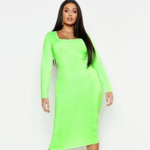 Boohoo Plus Neon Slinky Midi Dress